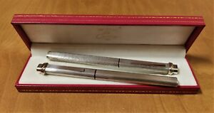 Cartier Must Vendome Silver Godron and Brushed Finish Set Fountain Pen & R.Ball