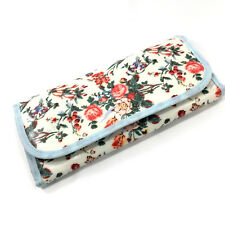 Travel Makeup Organizer Toiletry Overnight Bifold Case Tea Rose Floral Print EUC