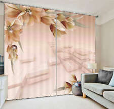 Tender Pink Flower 3D Curtain Blockout Photo Printing Curtains Drape Fabric