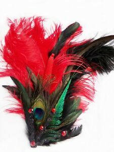 Fascinator Hat Ostrich Feather Jeweled SHOWGIRL HEADDRESS Burlesque Costume USA