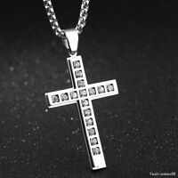 Mens Womens White Cz Silver Tone Charm Cross Pendant Stainless Steel Necklace