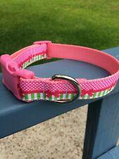 Pink Bow and Lime Dog Collar