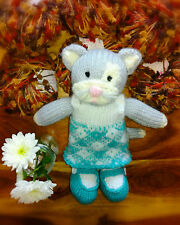 Girl Kitty Cat & Removable Dress - Hand Knitted Soft Toy - New Custom Crafted