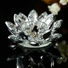 Lotus Tea Light Candle Holder Clear Colour Crystal Glass Flower Rotating Base S