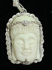 Armenta Bone Buddha  Necklace pendant Enhancer with Champagne Diamonds