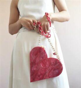 Heart shaped acrylic pink marble pearl women's bag crossbody shoulder bags