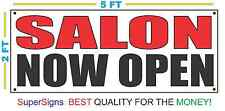 SALON NOW OPEN Banner Sign NEW Larger Size 2X5 Red & Black
