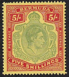 BERMUDA GVI 5s DULL PALE-GREEN & RED/YELLOW SG 118a PERF 14 1/14 SUPERB NH MINT