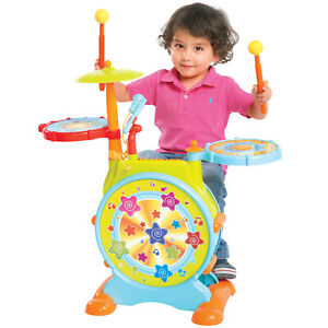 Drum Set for kids with Adjustable Sing-along Microphone and Stool