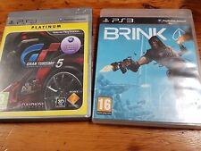 PS3 lote Brink más Gran Turismo 5 pal españa completo