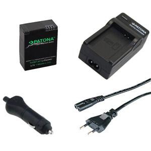 Batteria Patona + caricabatteria casa/auto per GoPro AHDBT-201,AHDBT-301