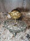 Antique Semi Flush Cut Crystal   Brass Hanging Ceiling Light Fixture Lighting