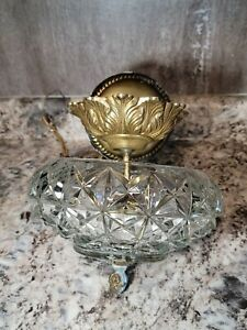 Antique Semi Flush Cut Crystal & Brass Ceiling Light Fixture