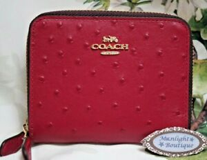 NWT COACH Small Ostrich Double Zip Around Wallet In DARK FUCHSIA Leather Gold