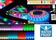 STRISCIA A LED RGB 5 M MT METRI 300 SMD 5050 BOBINA STRIP ADESIVA ALIMENTATORE