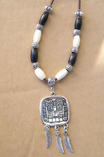 "AZTEC GOD Necklace Tibet Silver Feathers & Bone Beads 31""-33"" Leather Cord NEW!"