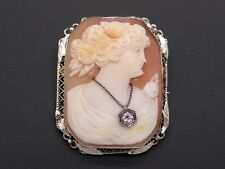 14k White Gold Carved Shell Cameo Woman Wearing Diamond Pendant Brooch Pin