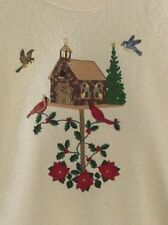 Cardinals Bird House Christmas Knit Top Church Poinsettia Off White Tree Large