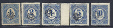1915 Wwi Mexico Sc#'s 495-499 Overprint on Postage Due of 1908 - Mh*