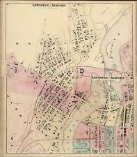 1872 Androscoggin County Maine plat maps state old Genealogy Land Owners Dvd P1