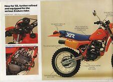 1983 HONDA XR200RD XR250RD 4 page Motorcycle Brochure NOS