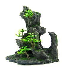 Aquarium Ornament Mountain View Tree - Rock Bonsai Decoration Fish Tank