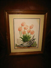 """WALL HANGING PICTURE W/ TULIPS~ """"NOW THE GOD OF PEACE BE WITH YOU ALL""""ROMANS"""