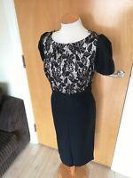 Ladies Dress Size 16 VIYELLA Black Ivory Lace Smart Party Evening Wedding Races