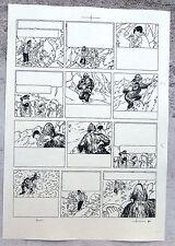 Hergé Tintin au Tibet Copie de Bleu d'imprimerie Planche 60 Format A4 Superbe !