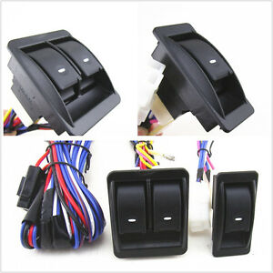 12V Vehicle Off-Road Power Door Window Glass Lift LED Switch With Wiring Harness