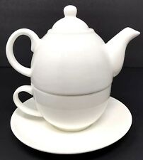 Tupperware TupperLiving Fine China Tea for One Teapot Cup + Saucer Set White New