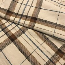Pottery Barn Bed + Bath Plaid Blanket Throw Full / Queen Tan Brown Navy Check