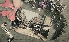 France Un Bonjour de Bourbonne-les- Bains - La Grande Rue old vintage postcard