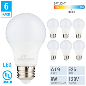 6 Pack LED A19 Bulb 9W 60W Equivalent Non Dimmable 5000K Daylight Medium E26