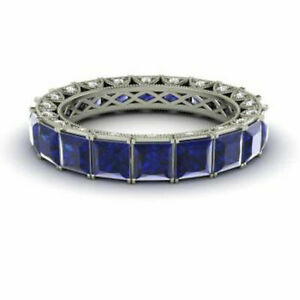 Princess 4.40 Ct Real Blue Sapphire Eternity Band 14K White Gold Size M N 1/2 P