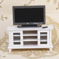 1/12 Dollhouse Miniature Furniture White Wooden TV Cabinet & Television Set