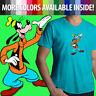 Walt Disney Goofy Goof Classic Cartoon Funny Silly Dog Mens Tee V-Neck T-Shirt
