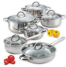 Pots Pans Set Stainless Steel Cookware Glass Lids Frying Pan Casserole 12 Pc NEW