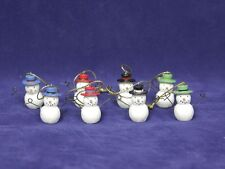 Set of 8 Mini Snowman Christmas Ornaments, Miniature, Tie-ons