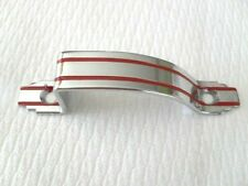 Vtg NOS Mid Century CHROME CABINET Cupboard Pulls 2 RED LINES Art Deco Handles