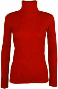 Womens Ladies Polo Neck Roll Neck Turtle Neck Plain Jumper Top Long Sleeve 8-26