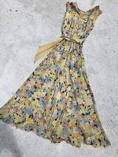 Vintage 1930s Art Deco Watercolor Floral Silk Chiffon Dress Gown Hanging Sash