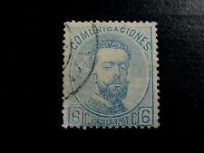 ESPAÑA 1872. Amadeo I. 6 céntimos azul