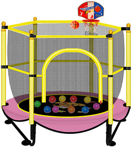 "60"" Trampoline For Kids 5 Ft Indoor  Outdoor Small Recreational Trampolines Wit"
