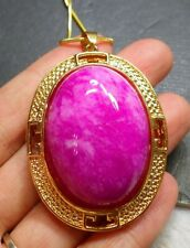 Pendant Cabochon include Chain 323120 Yellow Gold Plate Pink Lavender Jade
