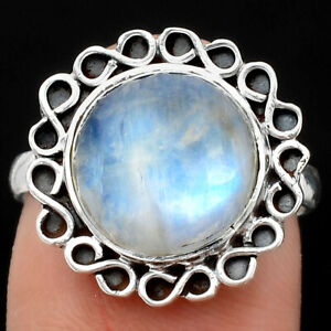 Natural Rainbow Moonstone - India 925 Sterling Silver Ring s.8 Jewelry E509