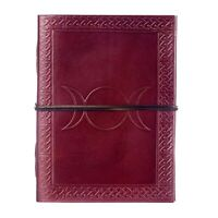 Three Moon Leather Journal, 125 Unlined Recycled Paper Pages Notebook Diary