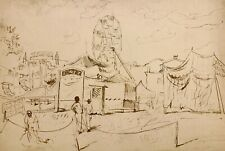 WALTER STUEMPFIG 20th c. American INK DRAWING Carnival