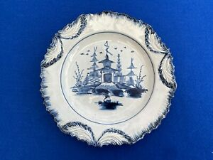 Antique Liverpool Pearlware Pottery Plate c1790 - blue & white
