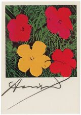 "ANDY WARHOL~ ORIGINAL SIGNED STUNNING COLOR POSTCARD,1964 ""FLOWERS""~WITH PSA LOA"